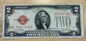 US Paper Currency 1928 $2 Red Seal Bills $2 Dollar Notes Red Seal Old US Paper