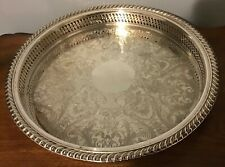 Vintage - Wm Rogers - Round Etched Silver Plate Serving Tray Platter - 12""