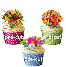 Mezcla de flores ramo Precortada 12 Comestible Cupcake Toppers Decoración Día de las Madres