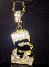 UK Iced Out Bart Real Crystals Mens Gold Filled Hip Hop Rope Curb Chain Necklace