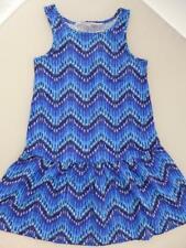 NEW 🔵 H&M  BLUE Zig Zag Cotton Dress Age 2-4 4-6 6-8 8-10 Yrs BNWT Next Season