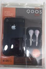 QDOS Black Jet Skin Case And Earphone Wrap For iPhone 3G/GS