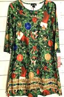 Dress Works Christmas Tree Holiday Red Green Stocking Women's Shift Dress Small