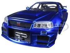 "BRIAN'S NISSAN SKYLINE GTR R34 BLUE ""FAST & FURIOUS "" MOVIE 1/24 BY JADA 97173"