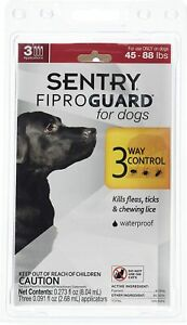 SENTRY Fiproguard Flea & Tick Topical for Dogs, 45-88 lbs, 3 Month Supply 2 PACK