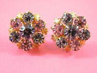 Vintage Rhinestone Earrings Purple Pink Snowflake Flower Gold Tone Screw On