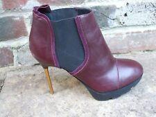 Stunning Burgundy Leather Stiletto Heel Ankle  Boots - KURT GEIGER- Size 7 UK