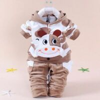 2pcs Newborn Baby Boys Winter Outfits Fleece Coat Long Pants Clothes Set Sports