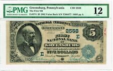 Greensburg, PA - 1882 Value Back Fr. 574 The First National Bank. PMG Fine 12