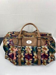 FOSSIL Key-Per Floral print XL Weekender Duffel tote bag