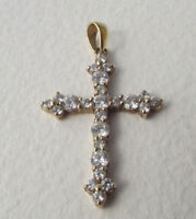 ADI 925 Gold plated Sterling Silver CZ Cross Pendant  on Gold Filled Necklace