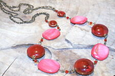 Mother Of Pearl & Ceramic Beads in Pinks and Reds, on a long Necklace