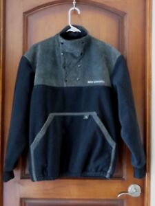 "Mens BMW Motorcycle Logo Fleece Black Faux Suede Trim Pullover  SZ M 50"" Chest"