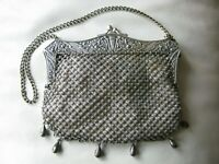 Antique German Silver Floral Frame 6 Ball Tassel Special Fancy Chain Mail Purse
