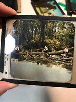 vintage Glass Plate Negative Of Men Fishing   #5