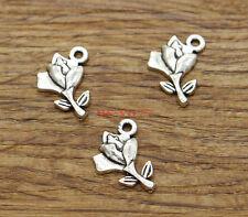 50pcs Rose Flower Charms Floral Bulk Charms Antique Silver Tone 13x17mm 1958