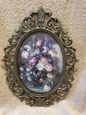 New ListingVintage Ornate Brass Picture Frames Curved Glass Floral Made In Italy.