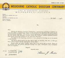 1948 Melbourne Catholic Diocesan Centenary letter re dinner in Cardinal Gilroy