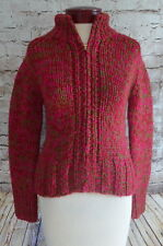 J Crew Red Pink & Green Thick Bulky Zip Up Sweater Women's Size Small XS