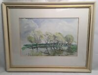 Vintage Watercolour Country Scene Trees By Lake A M White Mounted And Framed