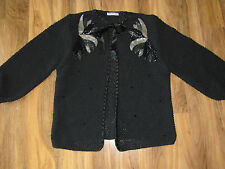 Designed by Tammy Hand Knitted in England Sweater Black Beaded -Size Large/XL
