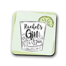 Gin and Tonic PERSONALISED Coaster Place Mat Mug Rest Cute Gift Square 9cm x 9cm