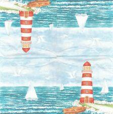 2 Serviettes en papier Mer Phare Voilier Paper Napkins Lighthouse