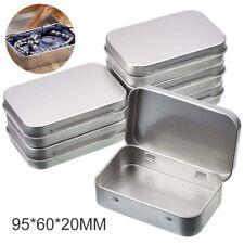6Pcs Portable Metal Rectangular Empty Hinged Tins Storage Box Containers Kit P