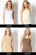 Women Long Cami Adjustable Strap Stretchy No Bra Tunic Cotton Tank Top ST-5000