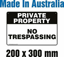 PRIVATE PROPERTY - NO TRESPASSING - METAL Sign 200mm X 300mm