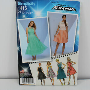 NEW Simplicity 1415 Pattern Sz 4-12 party bridesmaid prom dress Project Runway