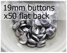 19mm self cover metal BUTTONS FLAT backs (sz 30) 50 QTY + FREE instructions