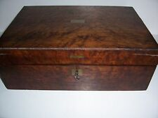 Antique Laptop Lap Desk Burled Wood with Key