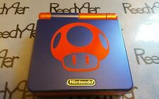 Blue & Red Mushroom GameBoy Advance SP *MINT* AGS-001 Nintendo System Mario Toad