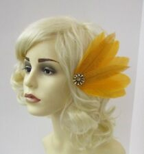 Mustard Yellow Gold Feather Fascinator Hair Clip 1920s Gatsby Races Wedding 6710