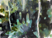 ORIGINAL FOREST LANDSCAPE PAINTING - WATERCOLOR AND GOUACHE- 12 X 15 INCHES