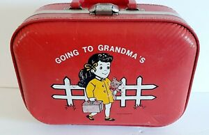 Vintage Red Going to Grandma's Suitcase, Trojan Luggage Co.