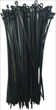"""(500) Black Mounting Head Hole 11"""" Inch Nylon Cable Wire Wrap Zip Ties 50 LB USA"""