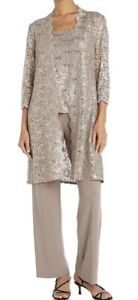 R&M Richards NWT Mother of Bride Wedding Formal 3pc pant suit Champagne/Gold 18