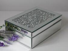Mirror Silver Glass Crystal Jewel Diamond Gem / Jewellery Trinket Box - Gift