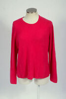 Soft Luxe Fuchsia 2 Ply Cashmere Knit Crew Neck Sweater Jumper Top Womens Large