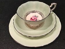 Trio Paragon Fluted Footed Tea Cup, Saucer, & Plate ~ Ribbed Green w/ Roses