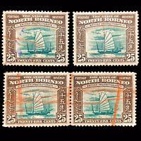 North Borneo 1939 4X 25c Brown/Green Native Boat Crayon Cancel Postage Stamp