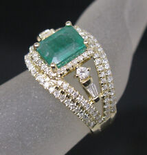 Solid 14K Yellow Gold Genuine Natural Colombia Emerald Diamonds Engagement Ring