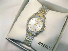 Seiko Women's SUR732 Silver Dial Two Tone Swarovski Crystals Stainless Steel,NEW