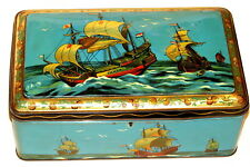 Flying Dutchman Holland Sail Ship Biscuit Candy Tin 1920s, BIG SIZE!
