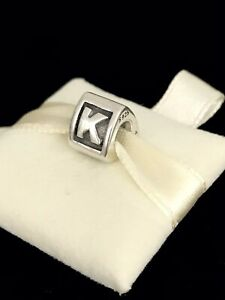 Pandora Letter K Block Alphabet Initial Charm Silver S925 ALE + Box 790323K