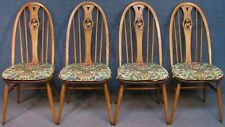 Set Of 4 Ercol Windsor Swan Back 1876 Solid Elm & Beech Kitchen / Dining Chairs