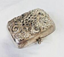 Antique Derby Silver Company Repousse Flower Trinket Box Change Purse