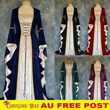 Women Victorian Renaissance Medieval Midi Dress Gothic Halloween Cosplay Costume